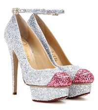 Charlotte Olympia Kiss Me Dolores Glitter Platform Pumps Silver