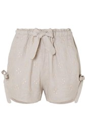 Innika Choo Wilma Embroidered Linen Shorts Gray