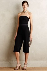 Anthropologie Strapless Wide Leg Jumpsuit Black