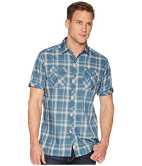 Kuhl Konquer S S Reflective Harbor Short Sleeve Button Up Blue