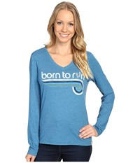 Life Is Good Born To Run Cool Tee Long Sleeve Denim Blue Women's Long Sleeve Pullover