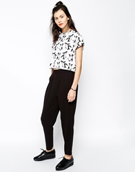 Monki Peg Leg Trousers Black