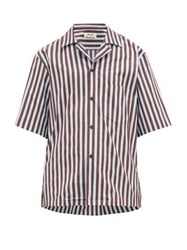 Acne Studios Striped Cotton Blend Shirt Blue Multi