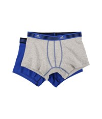 Adidas Athletic Stretch 2 Pack Trunk Heather Grey Bold Blue Bold Blue Black Men's Underwear Gray