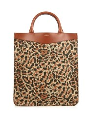 A.P.C. Rose Canvas And Leather Tote Leopard