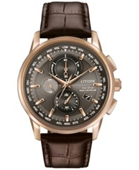 Citizen Men's Chronograph Eco Drive Brown Leather Strap Watch 43Mm At8113 04H