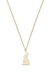 Forever 21 Bunny Charm Necklace Matte Gold