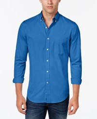 Club Room Men's Big And Tall Solid Long Sleeve Shirt Classic Fit Palace Blue