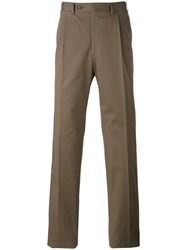 Canali Chino Trousers Men Cotton Spandex Elastane 52 Brown