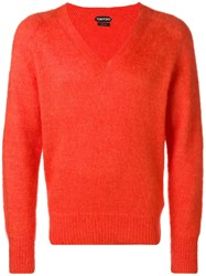 Tom Ford Classic V Neck Sweater Yellow And Orange