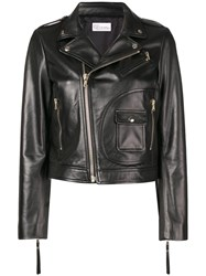 Red Valentino Leather Biker Jacket Black