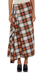 Cedric Charlier Women's Plaid Flannel Wrap Style Midi Skirt White