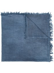 Eleventy Fringed Edge Scarf Women Polyester Viscose One Size Blue