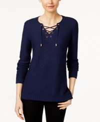 Charter Club Lace Up Split Neck Sweater Only At Macy's Intrepid Blue