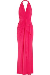 Donna Karan New York Stretch Jersey Halterneck Gown Fuchsia