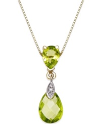 Macy's Peridot 3 Ct. T.W. And Diamond Accent Pendant Necklace In 14K Gold