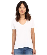 The Beginning Of Olivia V Neck High Low Tee White Women's Short Sleeve Pullover
