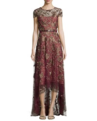 Marchesa Notte Short Sleeve Belted High Low Gown