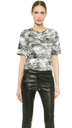 Jason Wu Abstract Print Stripe T Shirt Black Chalk Plaster