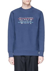 Know Wave 'Over Under' Logo Print Sweatshirt Blue