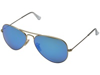 Ray Ban Rb3025 Aviator Polarized Flash Lenses 58Mm Matte Gold Blue Mirror Polar Polarized Fashion Sunglasses