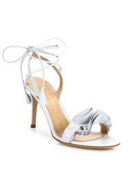 Gianvito Rossi Ruffle Leather Ankle Wrap Sandals White Black