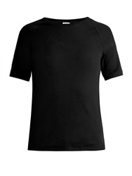 Bliss And Mischief Ribbed Cotton Jersey T Shirt Black