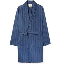 Oliver Spencer Loungewear Medway Striped Organic Cotton Robe Blue