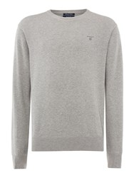 Gant Lightweight Cotton Crew Neck Jumper Grey