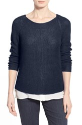 Women's Eileen Fisher Organic Linen Knit Ballet Neck Top Midnight