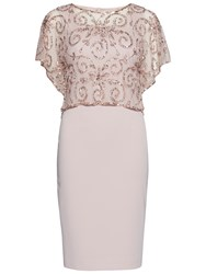 Gina Bacconi Crepe Dress With Beaded Over Top Ballet Pink
