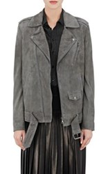 Theory Women's Suede Tralsmin Moto Jacket Dark Grey