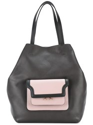 Marni Trunk Pocket Shopper Tote Black