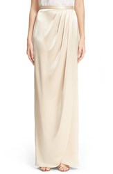 Women's St. John Collection Liquid Satin Faux Wrap Skirt Champagne