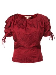 Brock Collection Tie Fastening Ruched Top Red