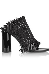 Proenza Schouler Woven Patent Leather And Suede Mules Black