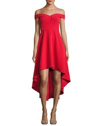Aidan Mattox Off The Shoulder High Low Crepe Cocktail Dress Red