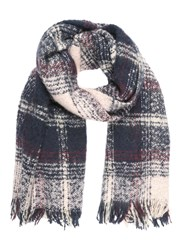 Jane Norman Navy And Pink Soft Check Scarf
