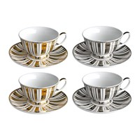 Pols Potten Gold And Silver Stripes Tea Set Set Of 4