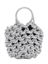 Alienina Julia Rope Bucket Cotton Top Handle Bag Silver