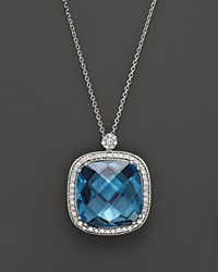 Bloomingdale's 14K White Gold Diamond And London Blue Topaz Cushion Necklace 16