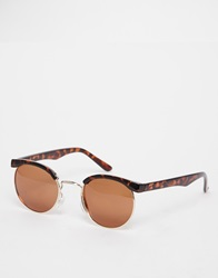 D Struct Round Retro Sunglasses Brown