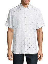 Saks Fifth Avenue Embroidered Linen Button Down Shirt Blue