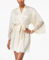 Flora Nikrooz By Erin Lace Trimmed Charmeuse Wrap Robe Candlelight