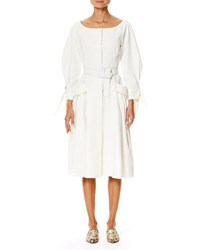Carolina Herrera Tonal Stripe Belted Boat Neck Dress White