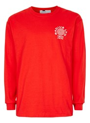 Topman Red Radius Print Long Sleeve T Shirt