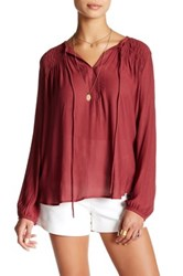 Ro And De Smocked Hi Lo Blouse Red