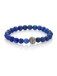 John Hardy Classic Chain Lapis And Sterling Silver Beaded Stretch Bracelet Blue