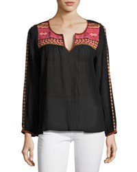 Joie Cosima Embroidered Peasant Top Black