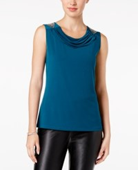 Nine West Embroidered Cowl Neck Top Teal
